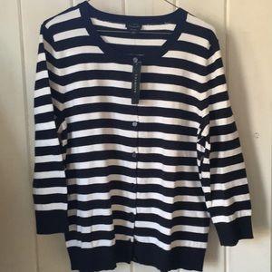 Talbots striped cardigan XL NWT